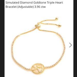 Simulated Diamond Gold Plated Adjustable bracelet.